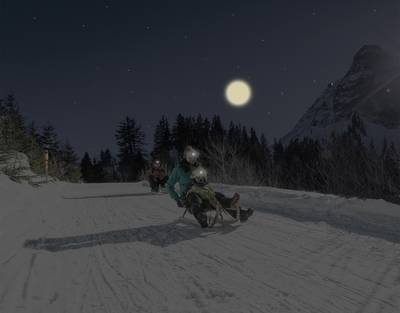 Night sledding slope of Moléson
