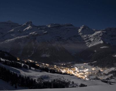 Night skiing in Les Diablerets